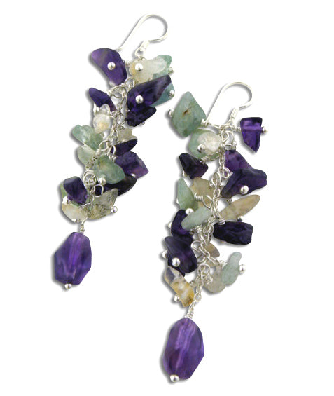Long Genuine Amethyst, Citrine, and Blue Topaz Beaded Sterling Silver Earrings
