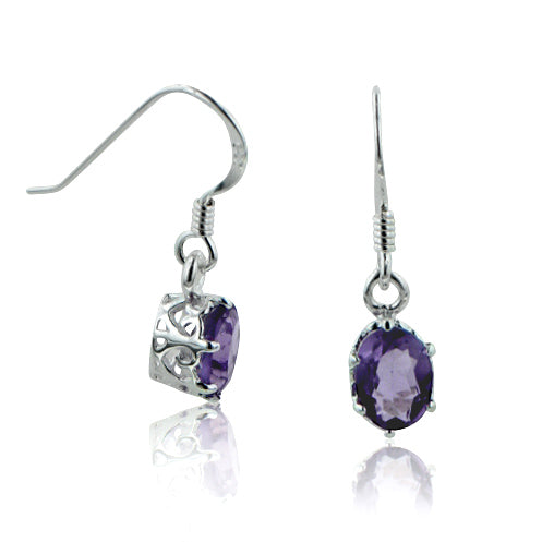 Genuine Amethyst Filigree Basket Small Sterling Silver Hook Earrings - Silver Insanity