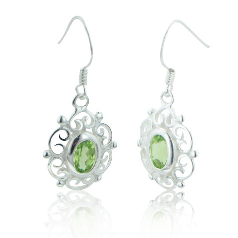 Sterling Silver Filigree Framed Oval Genuine Green Peridot Earrings - Silver Insanity