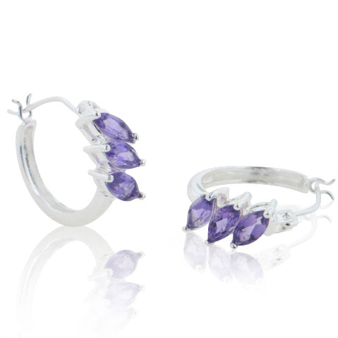 Small Sterling Silver Marquise Genuine Amethyst Huggie Hoop Earrings - Silver Insanity