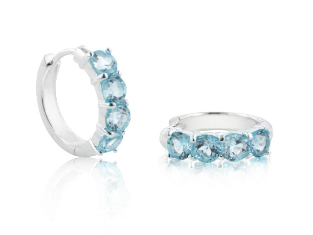 Genuine Sterling Silver 4-Stone Sky Blue Topaz Hoop Earrings - Silver Insanity