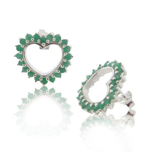 Large Sterling Silver 3cttw Genuine Emerald Open Heart Stud Earrings - Silver Insanity