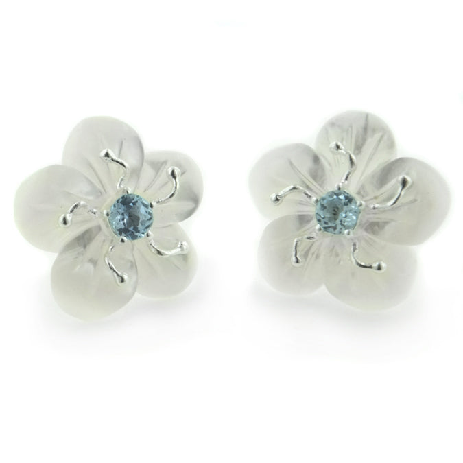 Carved Mother of Pearl Flower Sterling Silver Earrings