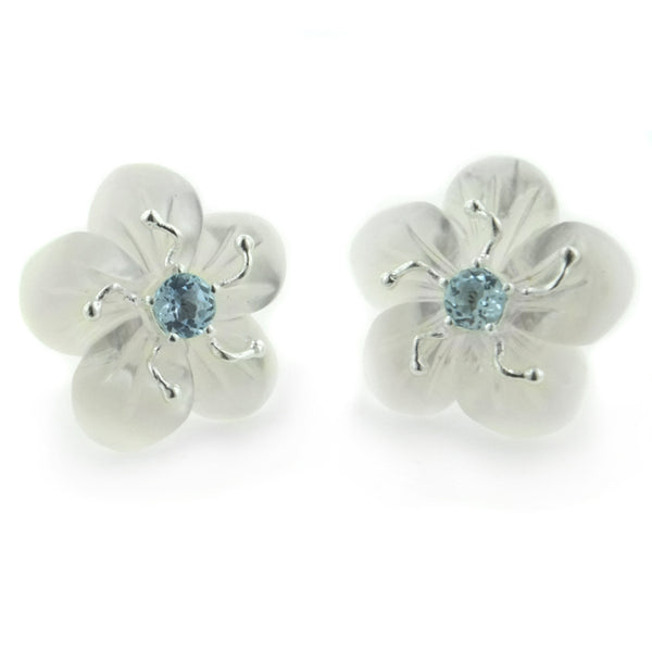 Carved Mother of Pearl Flower Sterling Silver Earrings - Silver Insanity