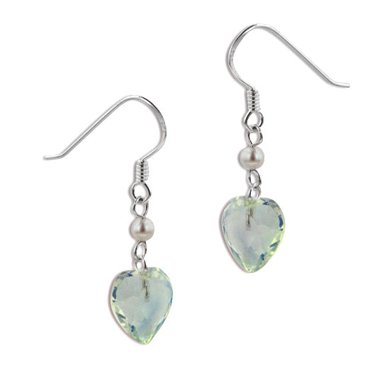 Aurora Borealis Crystal Heart and Pearl Bead Sterling Silver Hook Earrings - Silver Insanity