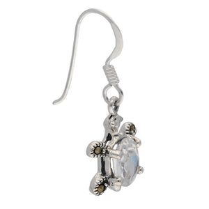 Petite Sterling Silver Turtle Earrings with CZ and Marcasites - Silver Insanity
