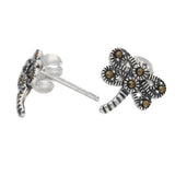 Small Marcasite Dragonfly Sterling Silver Post Stud Earrings