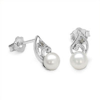 Genuine Pearl & CZ Gemstone Rhodium Plated Sterling Silver Post Stud Earrings - Silver Insanity