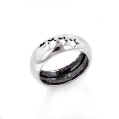 Shooting Star 7mm Wide Sterling Silver Band Ring - Silver Insanity