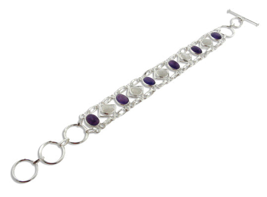 Rainbow Moonstone and Amethyst Sterling Silver Bracelet - Silver Insanity