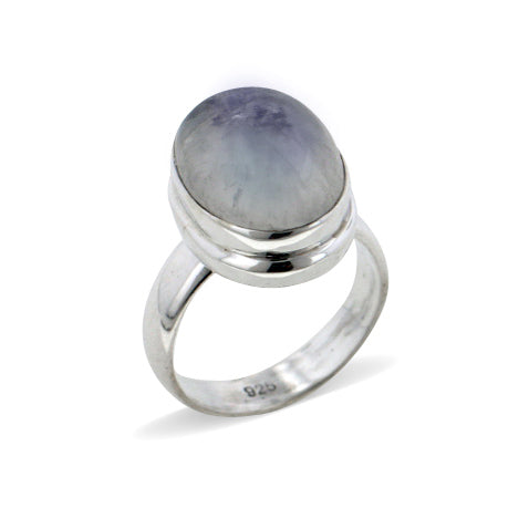 Large Oval Genuine Rainbow Moonstone Sterling Silver Ring - Silver Insanity