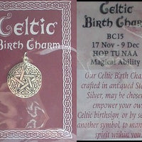 Hop Tu Naa Sterling Silver Celtic Birth Charm Pendant November 17 - December 9 - Silver Insanity