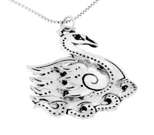 Sterling Silver March Celtic Birth Charm Swan Pendant - Silver Insanity