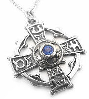 "Silver-Tone Celtic Sorcery Raith Gras Cross Pendant 20"" Necklace - Silver Insanity"