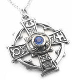 "Silver-Tone Celtic Sorcery Raith Gras Cross Pendant 20"" Necklace"