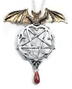 Lamia Gothic Forbidden Vampire Bat Pentacle Pendant Necklace - Silver Insanity