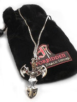 Gothic Forbidden Dragon Draco Sword Pendant Necklace - Silver Insanity