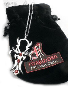 Gothic Forbidden Imps Crystal Cross Pendant Necklace - Silver Insanity