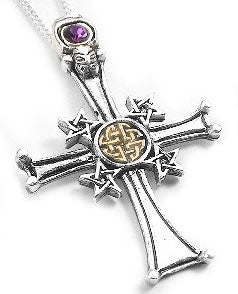 Silver Forbidden Gothic Pentacle Cross Pendant Necklace - Silver Insanity