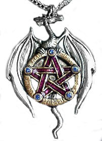 Gothic Galraedia Wiccan Earth Dragon Amulet Pendant Necklace - Silver Insanity