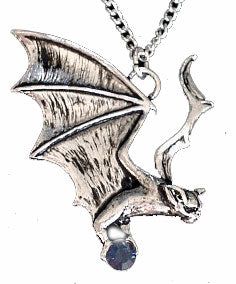 Gothic Silver Tone Vampire BAT Hanapu Pendant Necklace - Silver Insanity