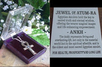 Silver-Tone Pewter Egyptian Ankh with Blue Crystal Pendant Necklace - Silver Insanity