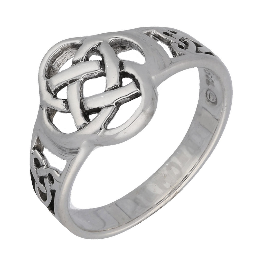 Celtic Triquetra Trinity and Flower Knot Eternity Sterling Silver Ring