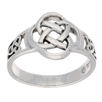 Celtic Triquetra Trinity and Flower Knot Eternity Sterling Silver Ring - Silver Insanity
