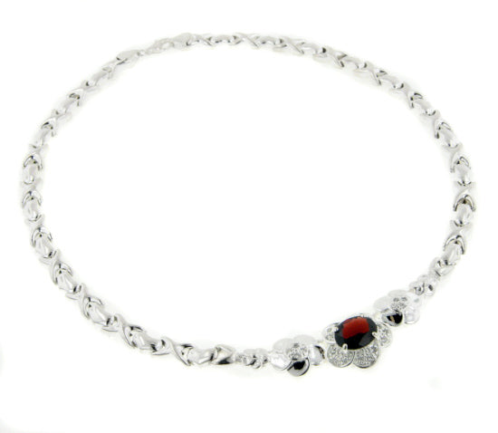 Sterling Silver Garnet Flower Prom or Bridal Necklace - Silver Insanity