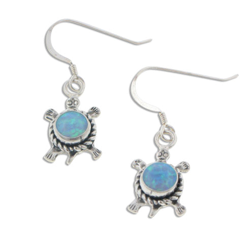 Southwestern Style Sterling Silver Blue Created Opal Turtle Hook Earrings