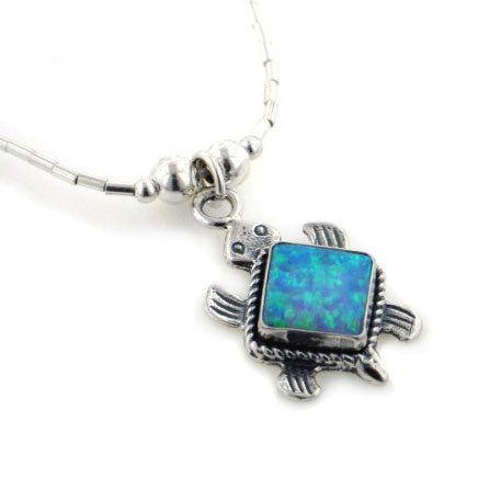 Sterling Silver Liquid Chain Blue Opal Turtle Necklace - Silver Insanity