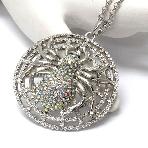 Spider Caught in a Sparkly Web - Crystal Pendant Silvertone Adjustable Necklace