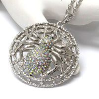 Spider Caught in a Sparkly Web - Crystal Pendant Silvertone Adjustable Necklace - Silver Insanity