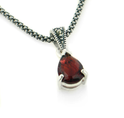 "Sterling Silver Antiqued Marcasite Garnet 16"" Necklace"