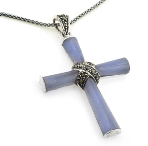 "Sterling Silver Marcasite Purple Jade Cross Pendant w/ 20"" Chain Necklace"