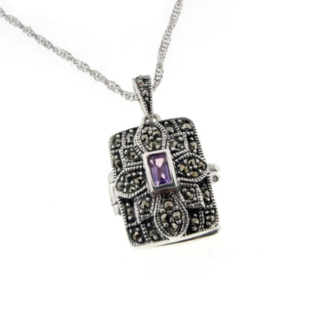 Amethyst Photo Locket Pendant Sterling Silver Necklace