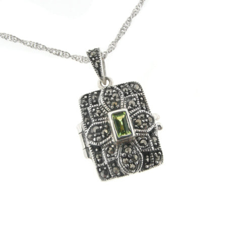 "Antiqued Marcasite and Peridot Photo Locket Pendant Sterling Silver with 18"" Chain Necklace"