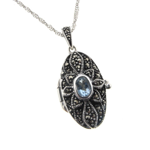 Oval Blue Topaz Locket Pendant Sterling Silver Necklace - Silver Insanity