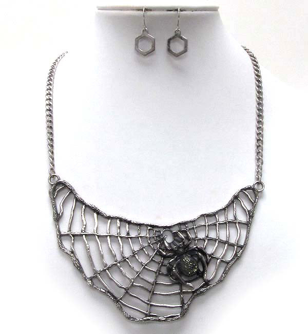 Halloween Black Widow Spider Witch Necklace - Bib Necklace and Earring Set