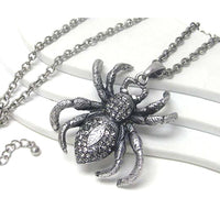 "Dusky Spider Large Antiqued Silvertone Pendant Extra Long 30"" to 32"" Necklace - Silver Insanity"