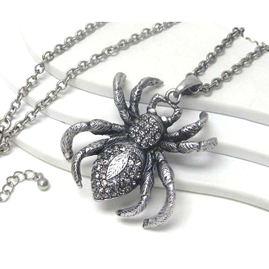 Dusky Spider Large Antiqued Silvertone Pendant Extra Long 30