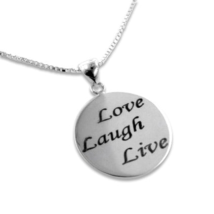 Love, Laugh, Live Affirmation Sterling Silver Necklace - Silver Insanity