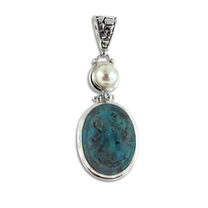Natural Turquoise Carved Cameo Sterling Silver Pendant - Silver Insanity