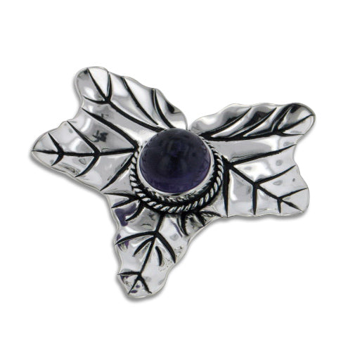 Large Maple Leaf with Genuine Amethyst Sterling Silver Slide Pendant
