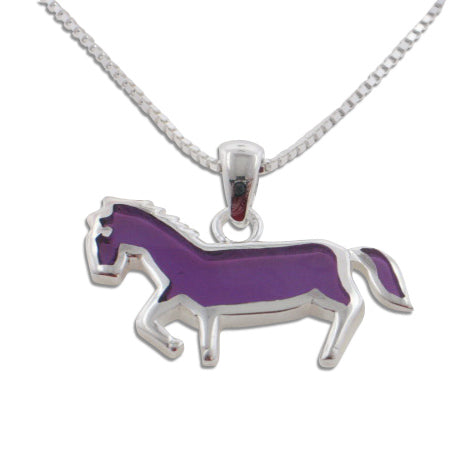 Child or Kids Purple Horse Pendant and Sterling Silver 16