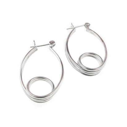 Loopty Loop Spring Swirl Hoop Earrings Sterling Silver - Silver Insanity