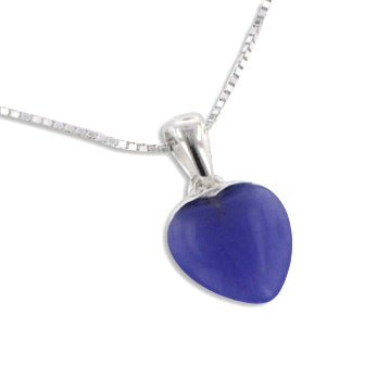 Small Lavender Purple Jade Heart Pendant Sterling Silver 16