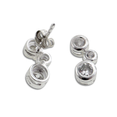 Curved Bubbles White CZ Studs Sterling Silver Post Earrings - Silver Insanity