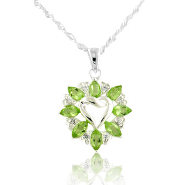Genuine Peridot Heart Pendant Sterling Silver Necklace - Silver Insanity