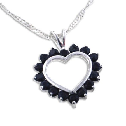 Genuine Midnight Sapphire Heart Pendant with 18